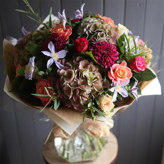 Autumnal Roses and Hydrangeas